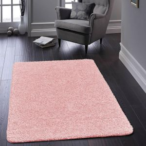 Buddy Washable Plain Rugs in Candy Pink