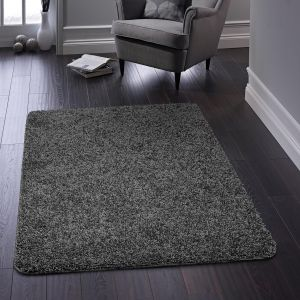 Buddy Washable Plain Rugs in Charcoal Grey