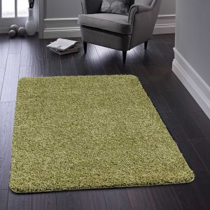 Buddy Washable Plain Rugs in Olive Green
