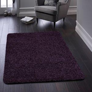 Buddy Washable Plain Rugs in Purple