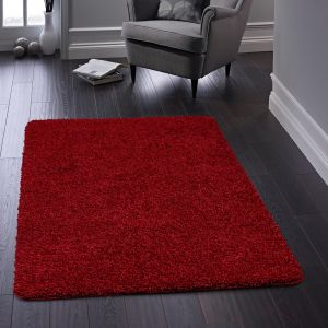 Buddy Washable Plain Rugs in Red