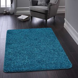 Buddy Washable Plain Rugs in Teal Blue