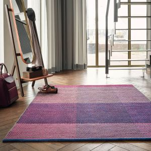 Check Wool Rugs 56400 by Ted Baker in Burgundy