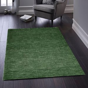 Country Tweed Plain Wool Rugs in Forest Green