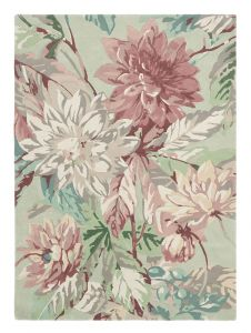 Dahlia and Rosehip Rugs 50607 in Mulberry by Sanderson
