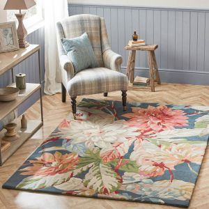 Dahlia and Rosehip Rugs 50608 in Teal by Harlequin