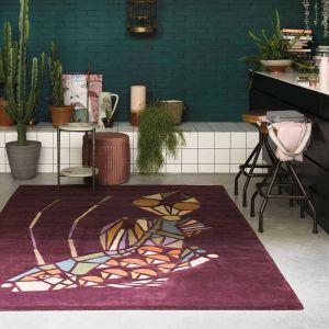 Emerging Fish Wool Rugs 160500 by Ted Baker in Burgundy Purple