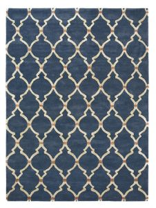 Empire Trellis Wool Rugs in Indigo 45508 by Sanderson