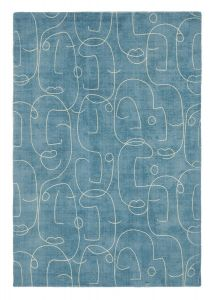 Epsilon Contemporary Face Wool Rugs by Scion in 023808 Teal Blue