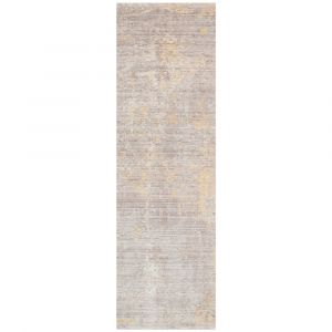 Essence Distressed Abstract ESSC03 Runner Rugs in Grey Yellow