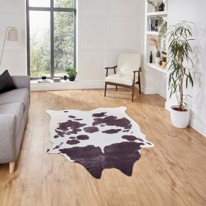 Faux Cow Print Rug in Black White