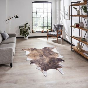 Faux Cow Print Rug in Brown White