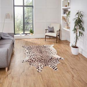 Faux Leopard Print Rug in Brown Beige