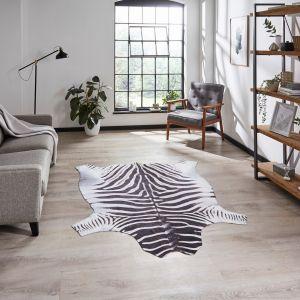 Faux Zebra Print Rug in Black White