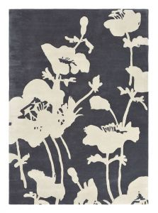 Floral 300 Rugs 039604 in Charcoal by Florence Broadhurst