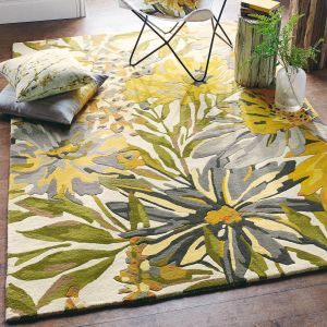 Floreale Rugs 44906 Modern Floral Bright Wool Rugs in Maize by Harlequin