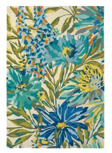 Floreale Rugs 44908 Modern Floral Bright Wool Rugs in Marine by Harlequin