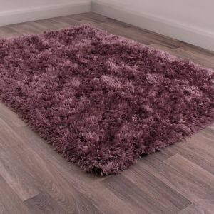 Flossy Plain Shaggy Rugs in Heather Purple