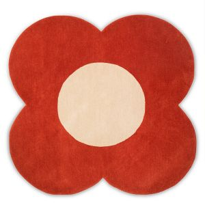 Flower Wool Circle Rugs 061303 in Tomato By Designer Orla Kiely