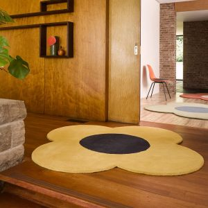 Flower Wool Circle Rugs 061306 in Sunshine By Designer Orla Kiely