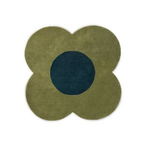 Flower Wool Circle Rugs 061307 in Forest By Designer Orla Kiely