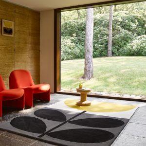 Flower Stem Wool Rugs 059806 in Granite By Designer Orla Kiely
