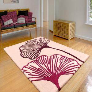 Ultimate Gem Floral Wool Rugs in Plum