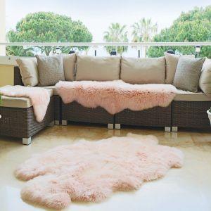 Genuine Sheepskin Animal Fur Rugs in Peach