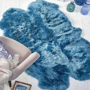Genuine Sheepskin Animal Fur Rugs in Teal