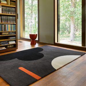 Geo Flower Wool Rugs 060605 in Graphite By Designer Orla Kiely