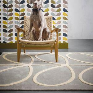 Giant Linear Stem Modern Wool Rugs 59404 in Grey by Orla Kiely