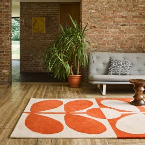 Giant Sixties Stem Wool Rugs 060703 in Tomato By Designer Orla Kiely