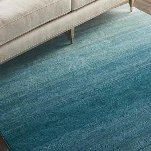 Calvin Klein Linear Glow Wool Rugs GLO01 in Aqua