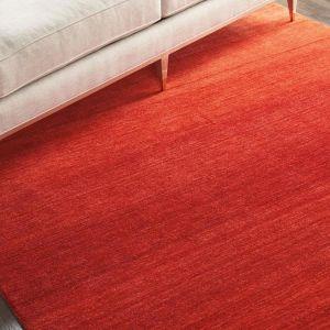 Calvin Klein Linear Glow Wool Rugs GLO01 in Sumac