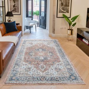 Heritage Traditional Bordered HRTG105 Rugs in Rust Blue
