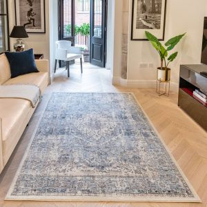 Heritage Traditional Bordered HRTG106 Rugs in Ivory Grey Blue