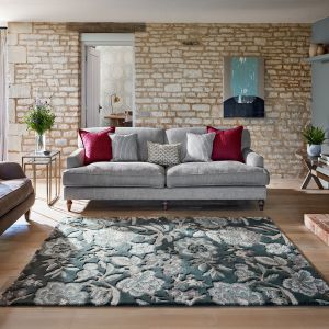Indra Floral Wool Rugs By Sanderson in Charcoal Grey