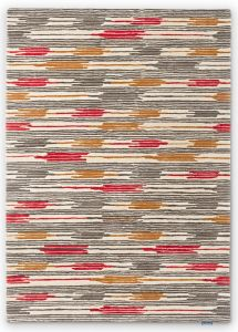 Ishi Striped Wool Rugs By Sanderson in Red Charcoal