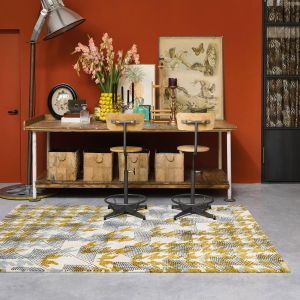 Ivory Atlas Recycled Cotton Rugs 160205 by Ted Baker in Ochre Yellow