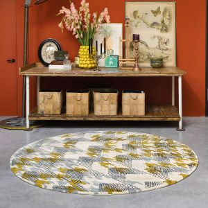 Ivory Atlas Recycled Cotton Circle Round Rugs 160205 by Ted Baker in Ochre Yellow