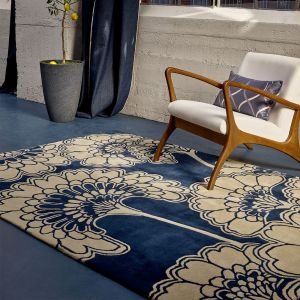 Japanese Floral Rugs 039708 in Midnight by Florence Broadhurst