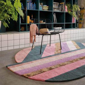 Jardin Geometric Stripe Wool Rugs 160902 by Ted Baker in Pink