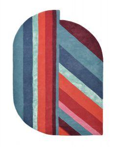 Jardin Geometric Stripe Wool Rugs 160908 by Ted Baker in Blue