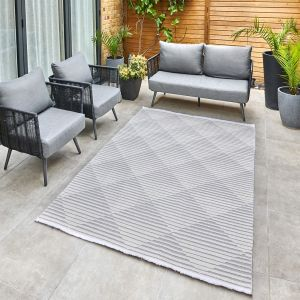 Jazz Jaz10 Indoor Outdoor Geometric Rugs in Grey
