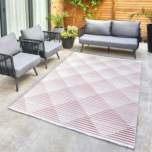 Jazz Jaz11 Indoor Outdoor Geometric Rugs in Rose Pink