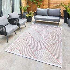 Jazz Jaz14 Geometric Indoor Outdoor Rugs in Rose Pink