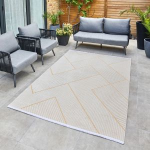Jazz Jaz15 Geometric Indoor Outdoor Rugs in Amber Yellow