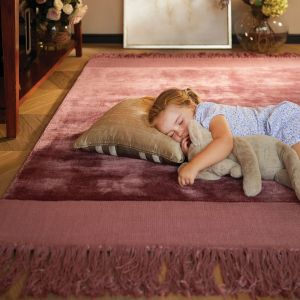 Karma Tassle rugs in Tuscan Rose