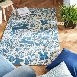 Kelda Woodland Rugs by Scion in 023508 Cobalt Blue