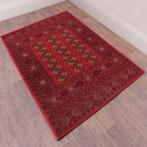 Traditional Keshan Heritage Bochara Hallway Runner Rug in Red